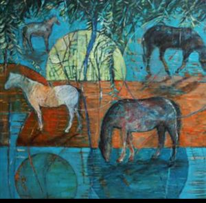 Marleen De Waele De Bock Contemporary Painting - Horses & Full Moon
