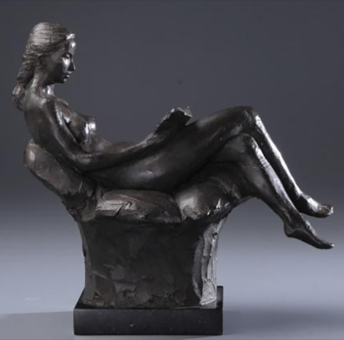 Seated Figure Reading - Contemporary Sculpture by Alan LeQuire