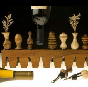One-Of-A-Kind Hand Turned Wine Stoppers - Contemporary Sculpture by Brenda Stein
