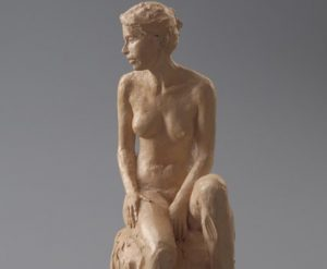 Janelle Seated - Terra Cotta Contemporary Sculpture by Alan LeQuire